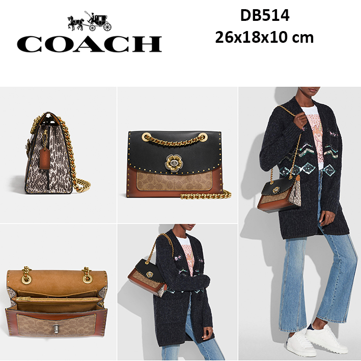 ad36fe071 ... top quality db514 coach parker with border rivets and snakeskin bag  sisbrow firsthand original branded bags